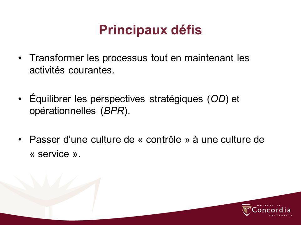 Principaux défis Transformer les processus tout en maintenant les activités courantes.