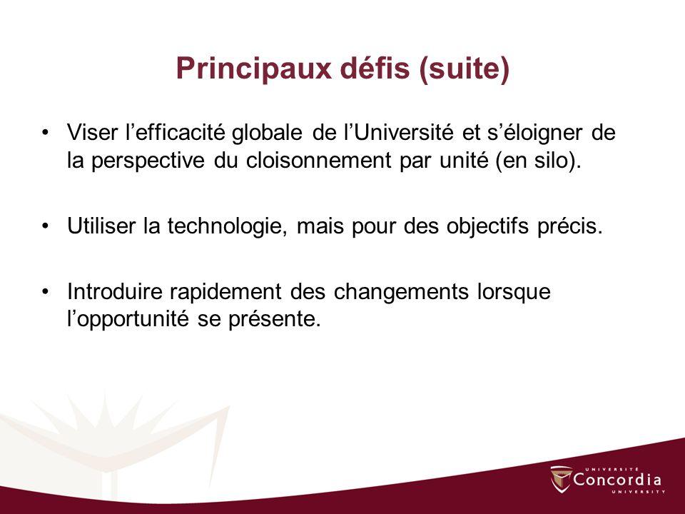 Principaux défis (suite) Viser lefficacité globale de lUniversité et séloigner de la perspective du cloisonnement par unité (en silo).