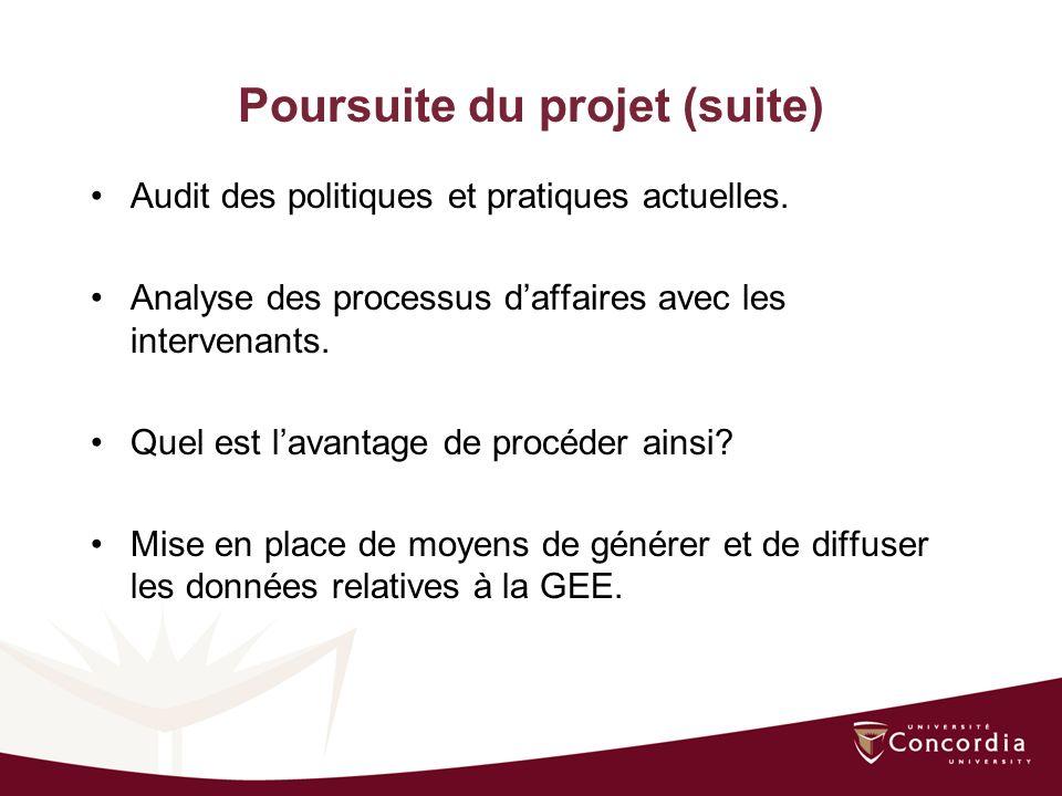 Poursuite du projet (suite) Audit des politiques et pratiques actuelles.