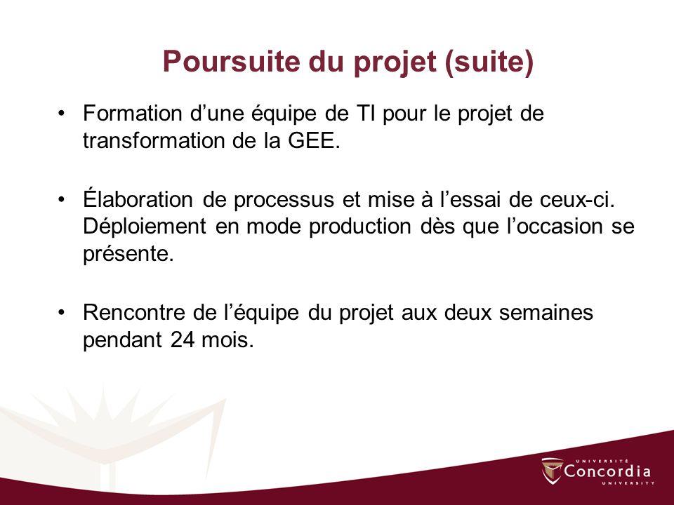 Poursuite du projet (suite) Formation dune équipe de TI pour le projet de transformation de la GEE.