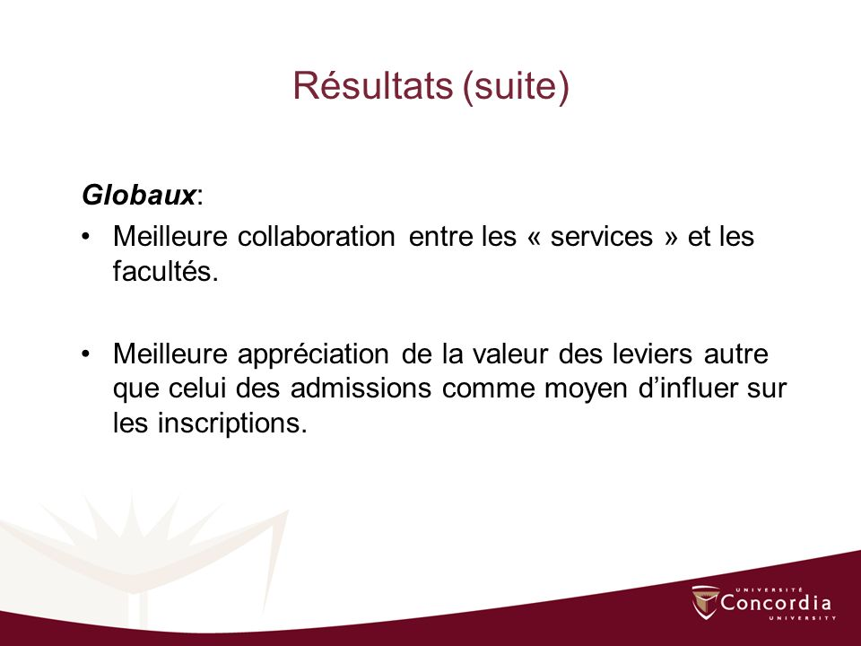Résultats (suite) Globaux: Meilleure collaboration entre les « services » et les facultés.