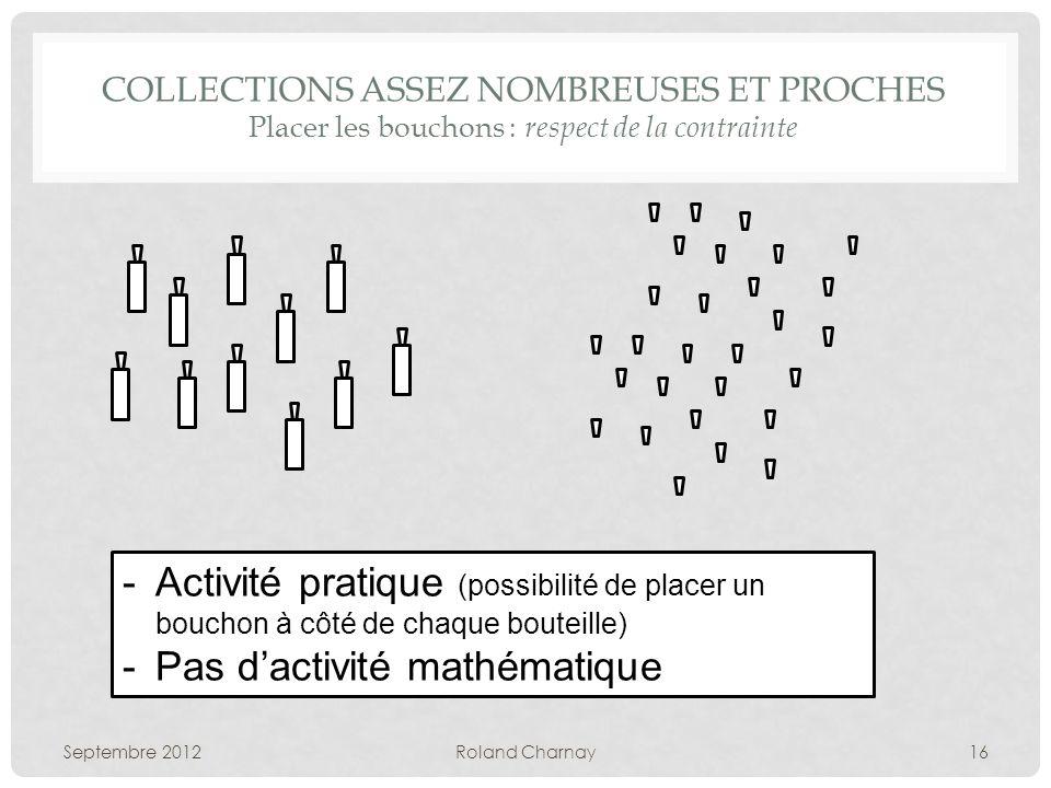 COLLECTIONS ASSEZ NOMBREUSES ET PROCHES Placer les bouchons : respect de la contrainte Septembre 2012Roland Charnay16 -Activité pratique (possibilité
