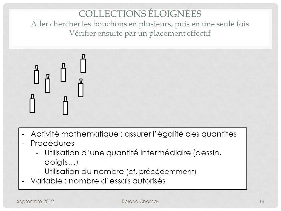 COLLECTIONS ÉLOIGNÉES Aller chercher les bouchons en plusieurs, puis en une seule fois Vérifier ensuite par un placement effectif Septembre 2012Roland
