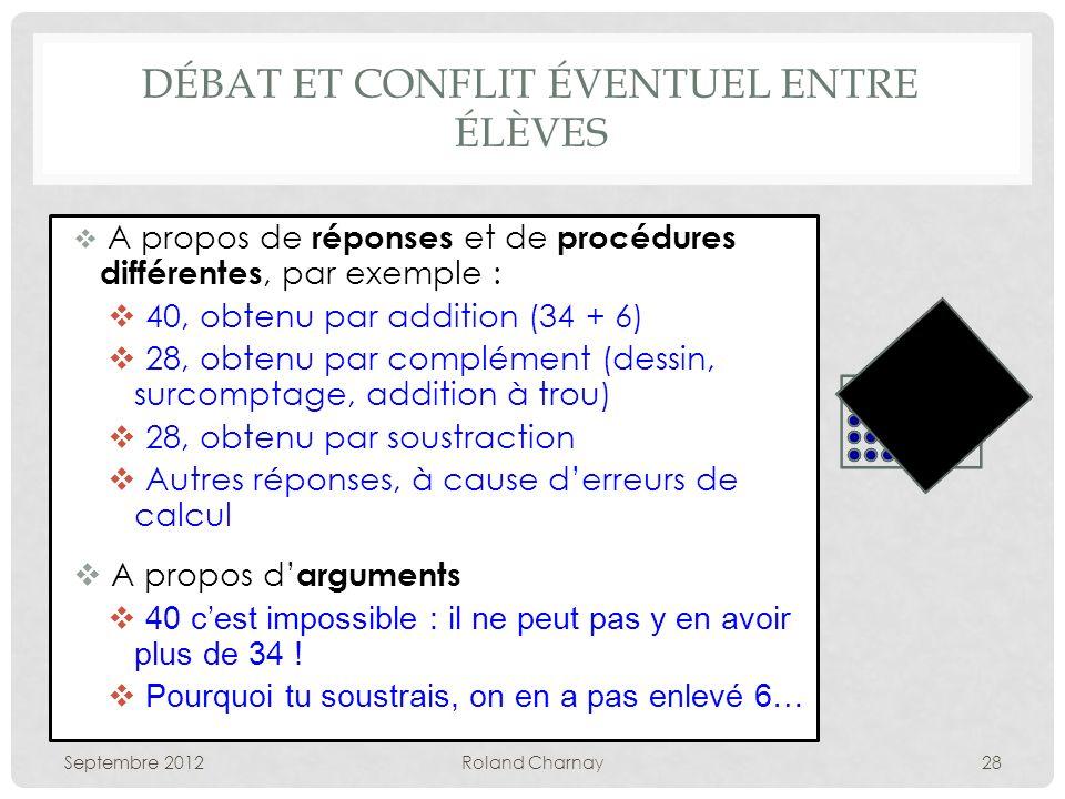 DÉBAT ET CONFLIT ÉVENTUEL ENTRE ÉLÈVES A propos de réponses et de procédures différentes, par exemple : 40, obtenu par addition (34 + 6) 28, obtenu pa