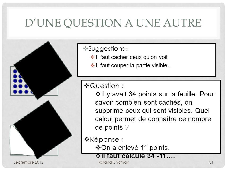 DUNE QUESTION A UNE AUTRE Suggestions : Il faut cacher ceux quon voit Il faut couper la partie visible… Septembre 2012Roland Charnay31 Question : Il y