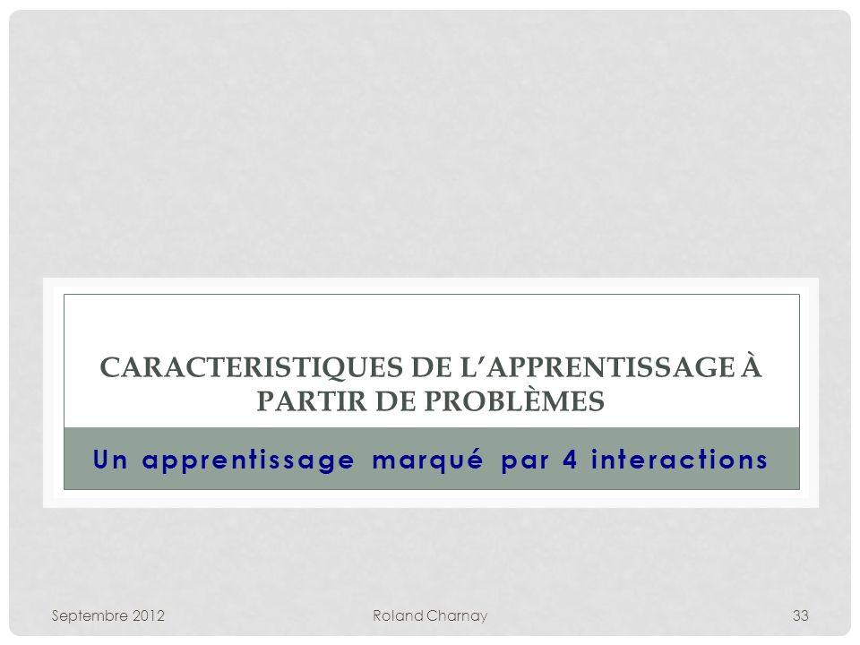 Septembre 2012Roland Charnay33 CARACTERISTIQUES DE LAPPRENTISSAGE À PARTIR DE PROBLÈMES Un apprentissage marqué par 4 interactions
