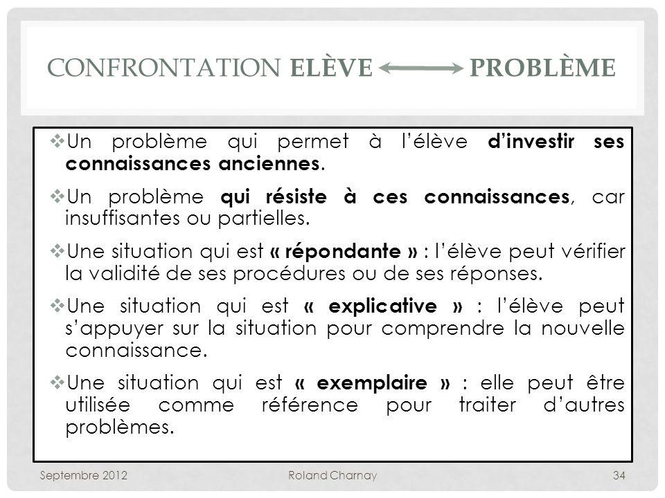 CONFRONTATION ELÈVE PROBLÈME Un problème qui permet à lélève dinvestir ses connaissances anciennes.