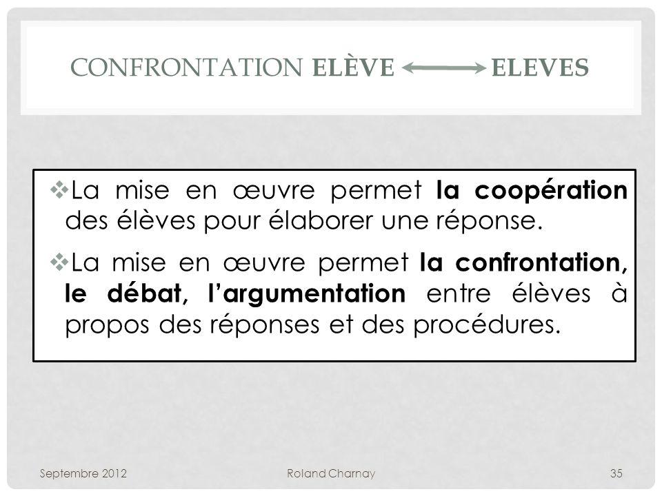 CONFRONTATION ELÈVE ELEVES La mise en œuvre permet la coopération des élèves pour élaborer une réponse. La mise en œuvre permet la confrontation, le d