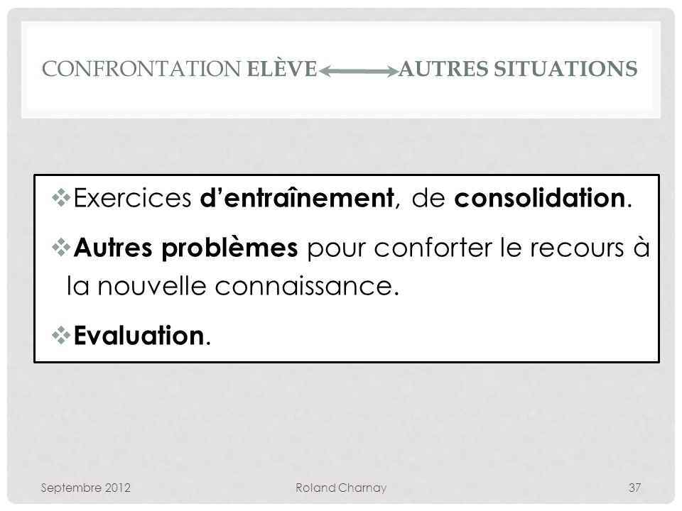 CONFRONTATION ELÈVE AUTRES SITUATIONS Exercices dentraînement, de consolidation.