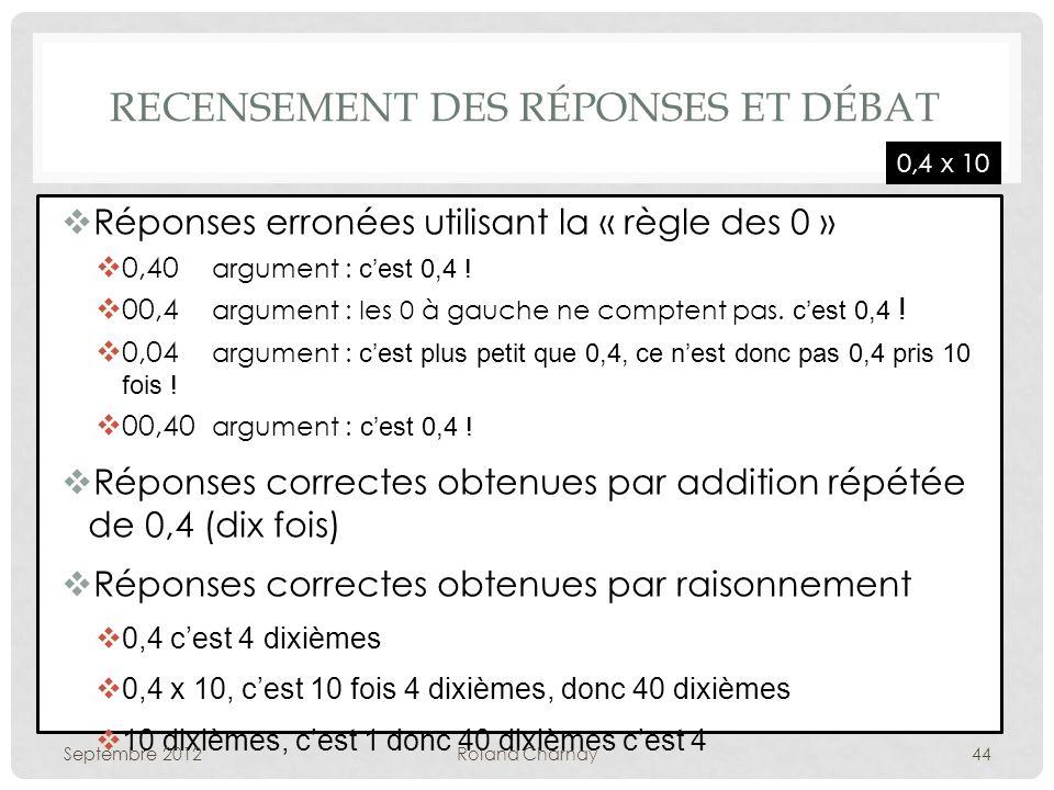 RECENSEMENT DES RÉPONSES ET DÉBAT Réponses erronées utilisant la « règle des 0 » 0,40 argument : cest 0,4 .