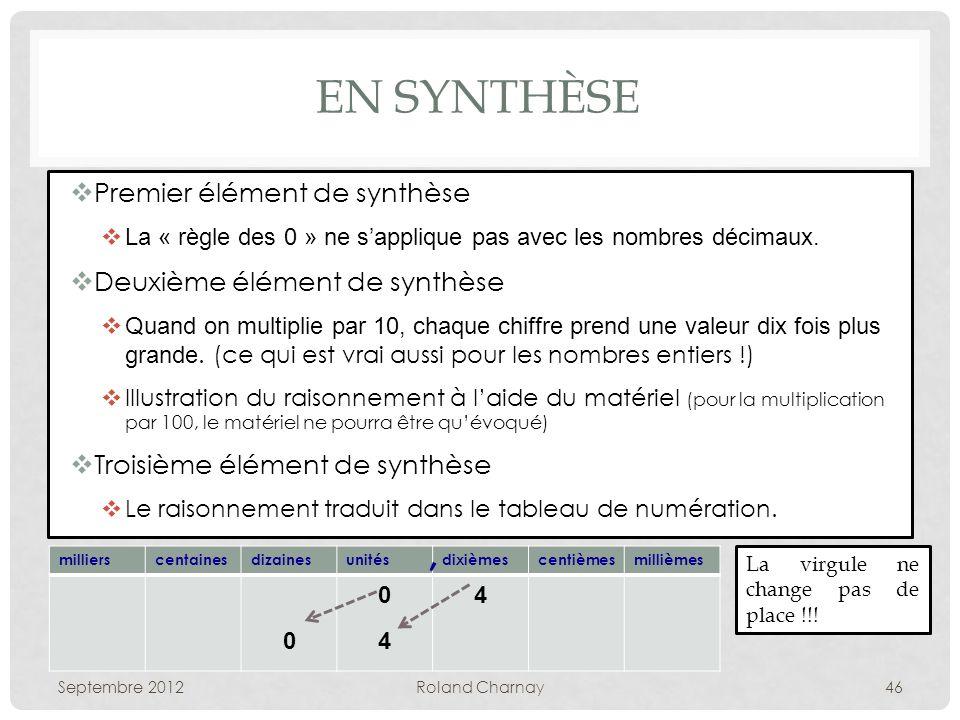 EN SYNTHÈSE Premier élément de synthèse La « règle des 0 » ne sapplique pas avec les nombres décimaux.