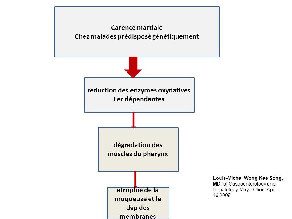 Carence martiale Chez malades prédisposé génétiquement réduction des enzymes oxydatives Fer dépendantes dégradation des muscles du pharynx atrophie de