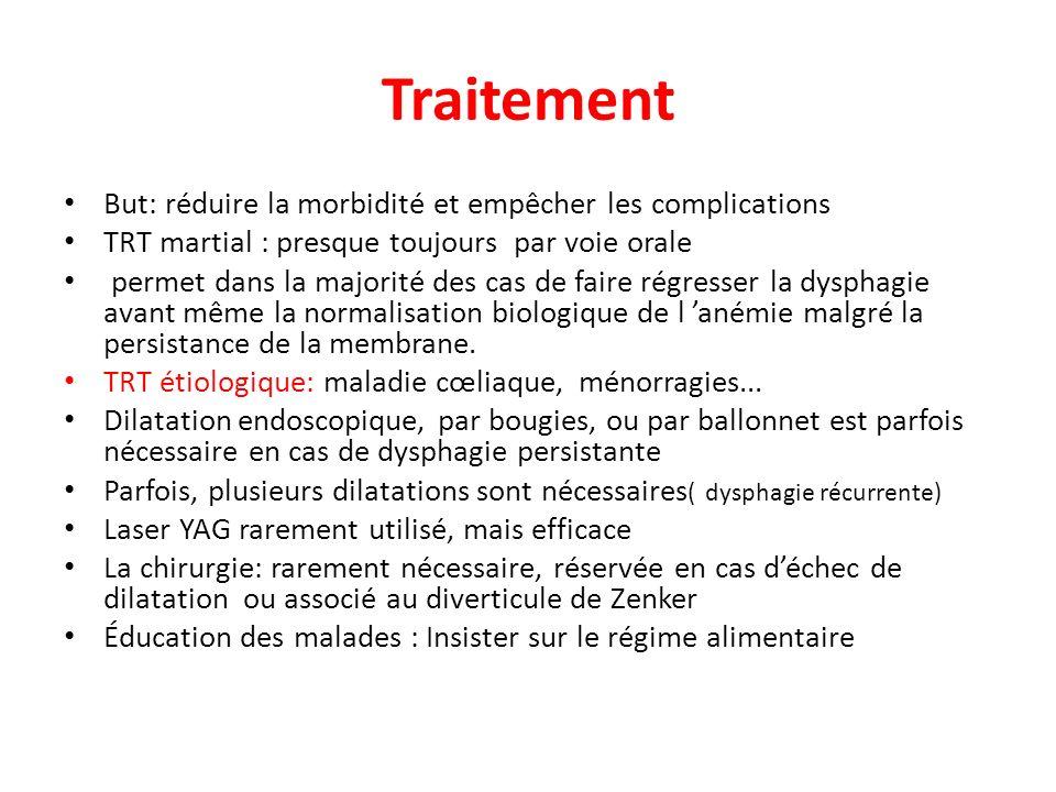 Traitement But: réduire la morbidité et empêcher les complications TRT martial : presque toujours par voie orale permet dans la majorité des cas de fa