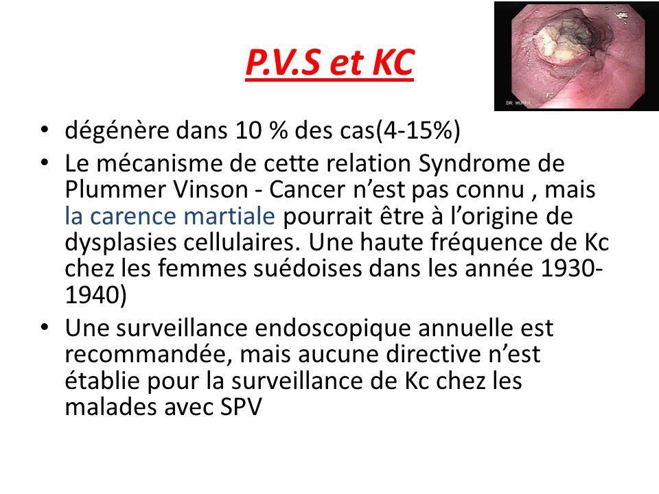 P.V.S et KC dégénère dans 10 % des cas(4-15%) Le mécanisme de cette relation Syndrome de Plummer Vinson - Cancer nest pas connu, mais la carence marti