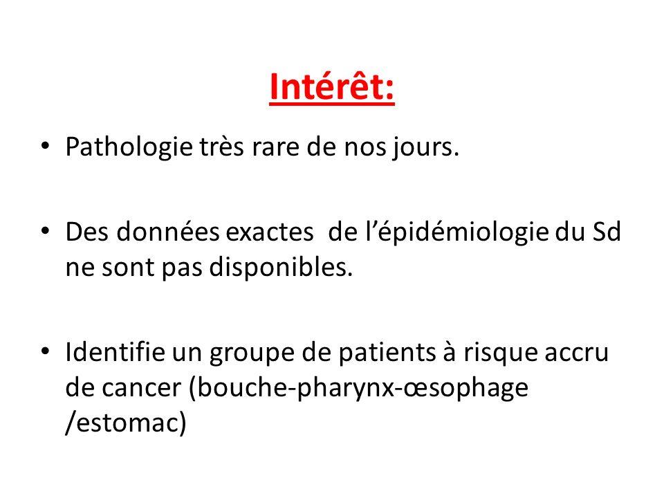 Intérêt: Pathologie très rare de nos jours. Des données exactes de lépidémiologie du Sd ne sont pas disponibles. Identifie un groupe de patients à ris