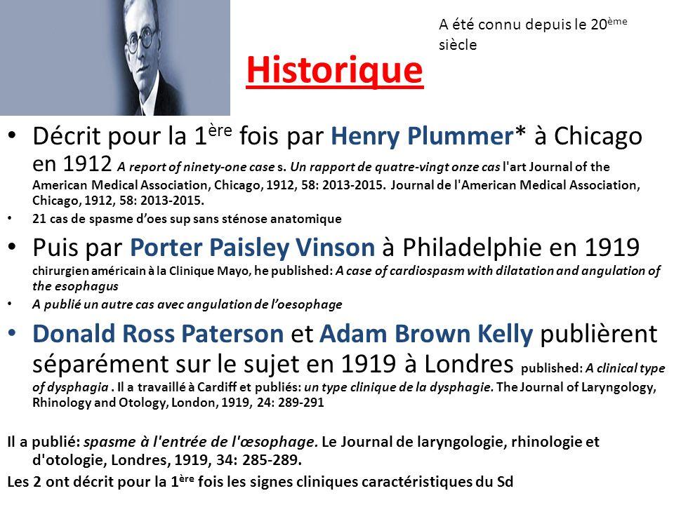 Historique Décrit pour la 1 ère fois par Henry Plummer* à Chicago en 1912 A report of ninety-one case s. Un rapport de quatre-vingt onze cas l'art Jou