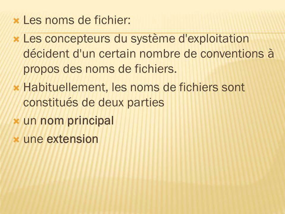 Les noms de fichier: Les concepteurs du système d exploitation décident d un certain nombre de conventions à propos des noms de fichiers.