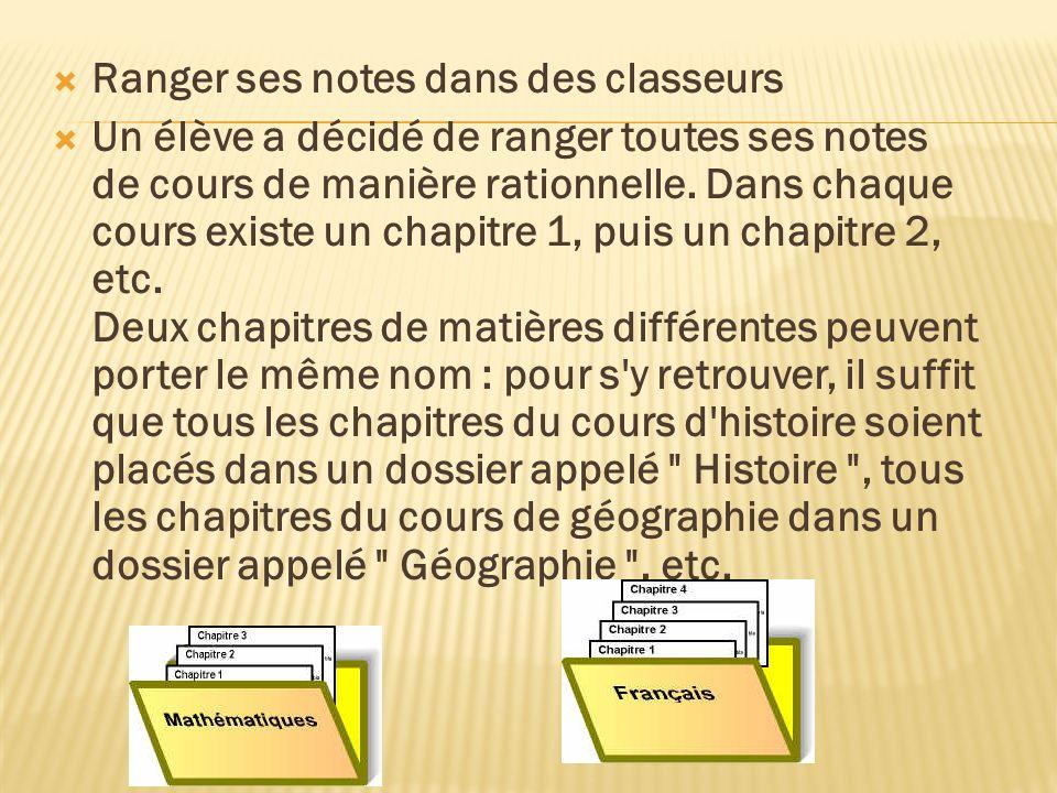 Ranger ses notes dans des classeurs Un élève a décidé de ranger toutes ses notes de cours de manière rationnelle.