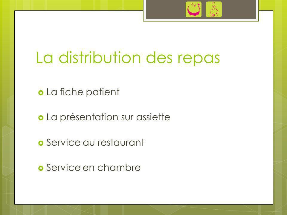 La distribution des repas La fiche patient La présentation sur assiette Service au restaurant Service en chambre