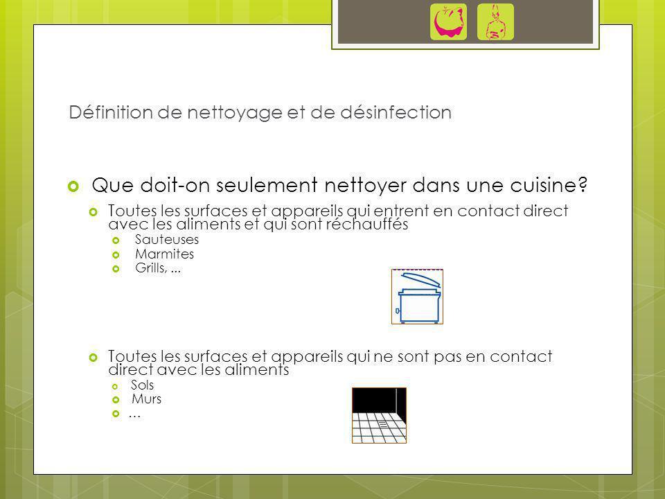 Que doit-on seulement nettoyer dans une cuisine? Toutes les surfaces et appareils qui entrent en contact direct avec les aliments et qui sont réchauff