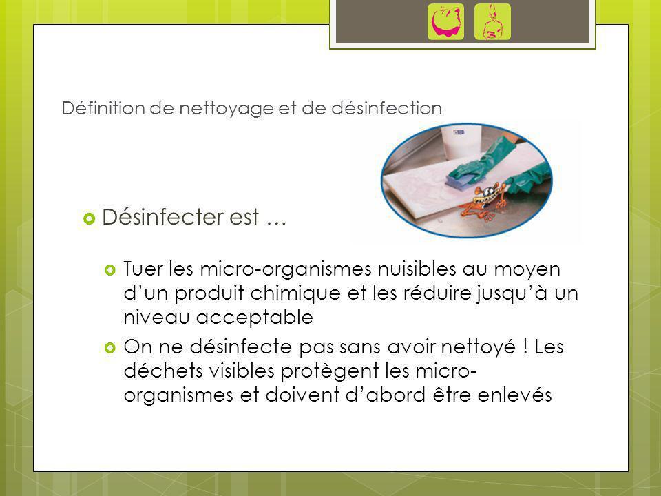 Désinfecter est … Tuer les micro-organismes nuisibles au moyen dun produit chimique et les réduire jusquà un niveau acceptable On ne désinfecte pas sa