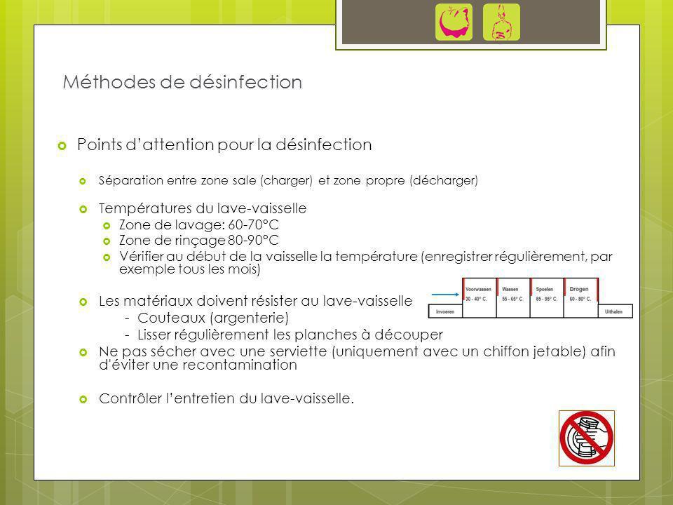 Points dattention pour la désinfection Séparation entre zone sale (charger) et zone propre (décharger) Températures du lave-vaisselle Zone de lavage: