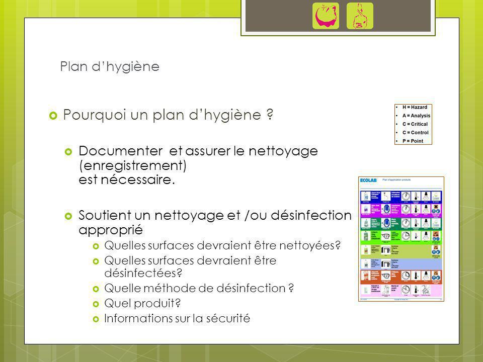 Pourquoi un plan dhygiène ? Documenter et assurer le nettoyage (enregistrement) est nécessaire. Soutient un nettoyage et /ou désinfection approprié Qu