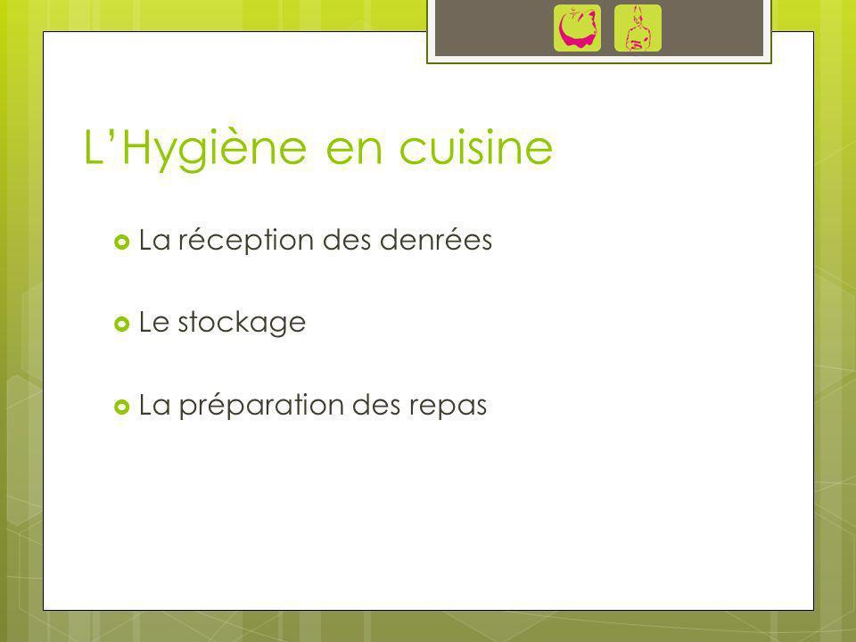LHygiène en cuisine La réception des denrées Le stockage La préparation des repas