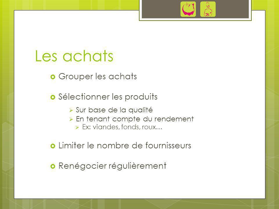 Les achats Grouper les achats Sélectionner les produits Sur base de la qualité En tenant compte du rendement Ex: viandes, fonds, roux… Limiter le nomb