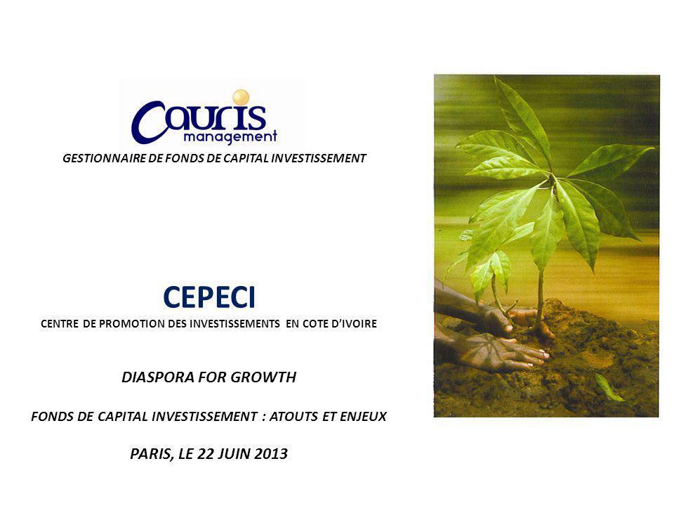 GESTIONNAIRE DE FONDS DE CAPITAL INVESTISSEMENT CEPECI CENTRE DE PROMOTION DES INVESTISSEMENTS EN COTE DIVOIRE DIASPORA FOR GROWTH FONDS DE CAPITAL INVESTISSEMENT : ATOUTS ET ENJEUX PARIS, LE 22 JUIN 2013