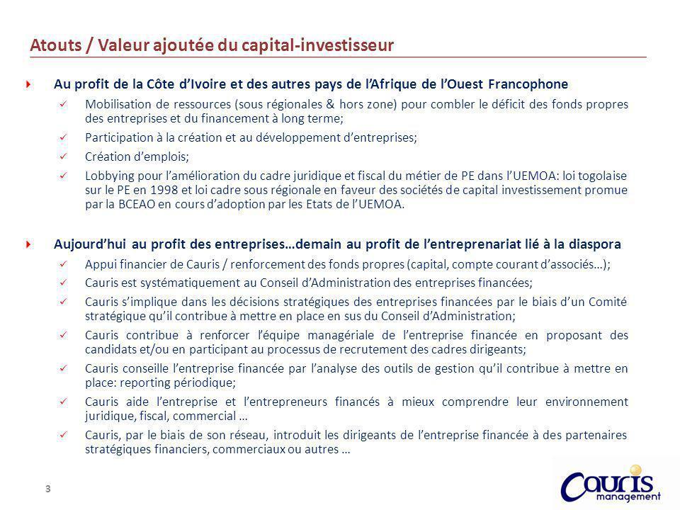 3 Atouts / Valeur ajoutée du capital-investisseur Au profit de la Côte dIvoire et des autres pays de lAfrique de lOuest Francophone Mobilisation de re