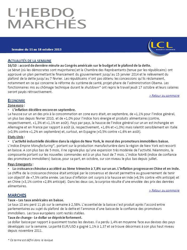 A CTUALITÉS DE LA SEMAINE 16/10 : accord de dernière minute au Congrès américain sur le budget et le plafond de la dette.
