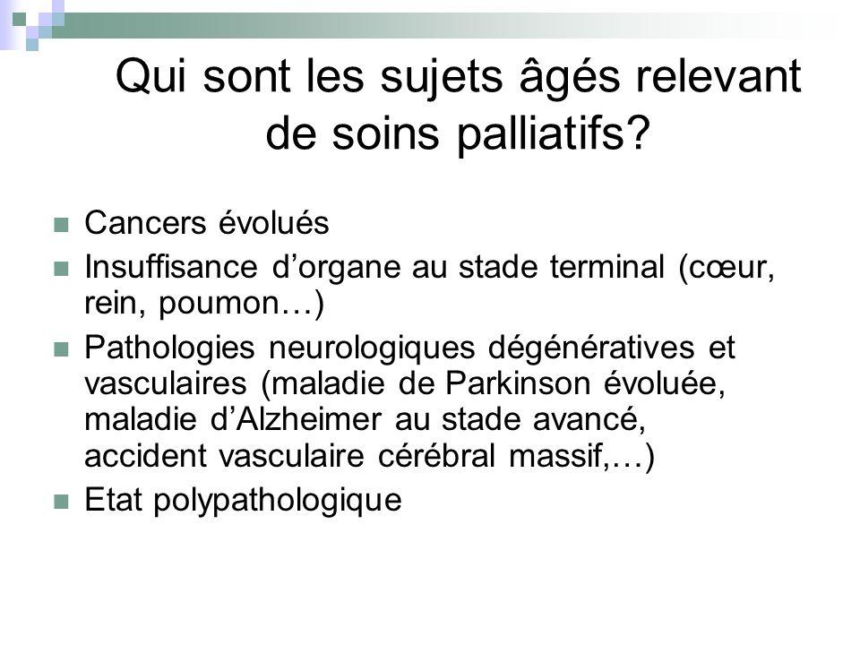 Qui sont les sujets âgés relevant de soins palliatifs? Cancers évolués Insuffisance dorgane au stade terminal (cœur, rein, poumon…) Pathologies neurol
