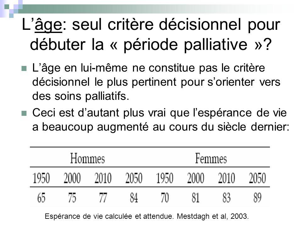 Lâge: seul critère décisionnel pour débuter la « période palliative »? Lâge en lui-même ne constitue pas le critère décisionnel le plus pertinent pour