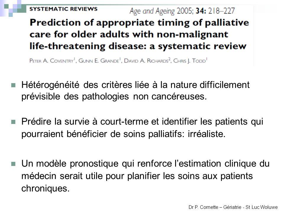 Hétérogénéité des critères liée à la nature difficilement prévisible des pathologies non cancéreuses. Prédire la survie à court-terme et identifier le