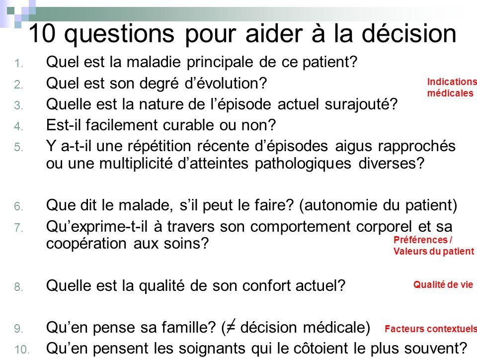 10 questions pour aider à la décision 1. Quel est la maladie principale de ce patient? 2. Quel est son degré dévolution? 3. Quelle est la nature de lé