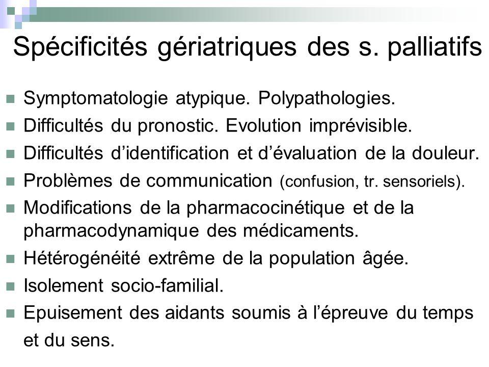 Spécificités gériatriques des s. palliatifs Symptomatologie atypique. Polypathologies. Difficultés du pronostic. Evolution imprévisible. Difficultés d