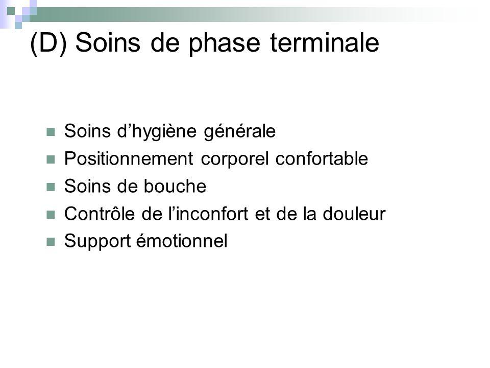 (D) Soins de phase terminale Soins dhygiène générale Positionnement corporel confortable Soins de bouche Contrôle de linconfort et de la douleur Suppo