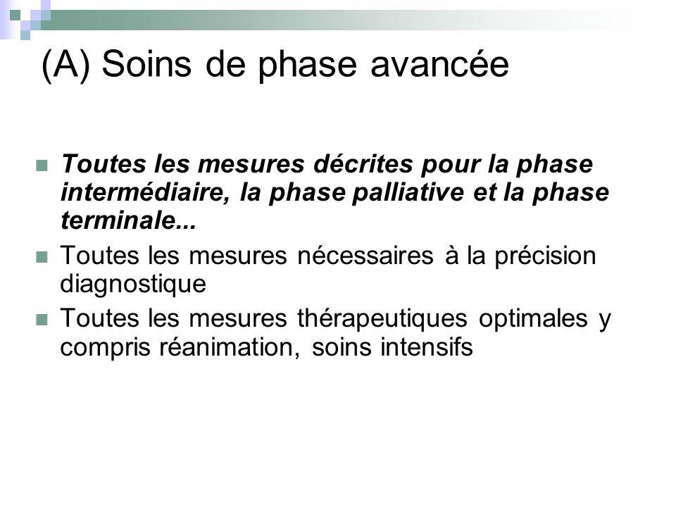 (A) Soins de phase avancée Toutes les mesures décrites pour la phase intermédiaire, la phase palliative et la phase terminale... Toutes les mesures né