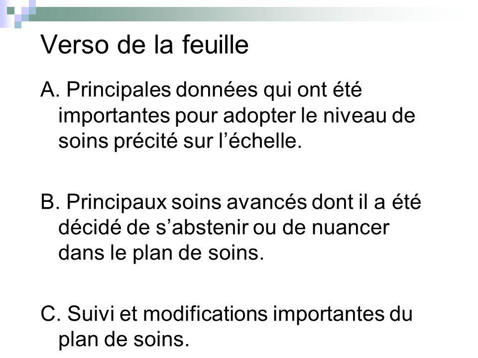 Verso de la feuille A. Principales données qui ont été importantes pour adopter le niveau de soins précité sur léchelle. B. Principaux soins avancés d