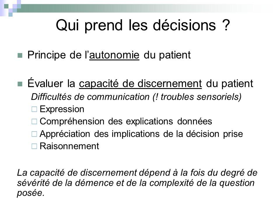 Qui prend les décisions ? Principe de lautonomie du patient Évaluer la capacité de discernement du patient Difficultés de communication (! troubles se