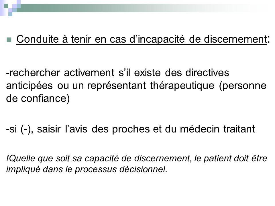 Conduite à tenir en cas dincapacité de discernement : -rechercher activement sil existe des directives anticipées ou un représentant thérapeutique (pe