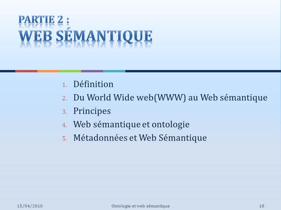 1. Définition 2. Du World Wide web(WWW) au Web sémantique 3. Principes 4. Web sémantique et ontologie 5. Métadonnées et Web Sémantique Ontologie et we