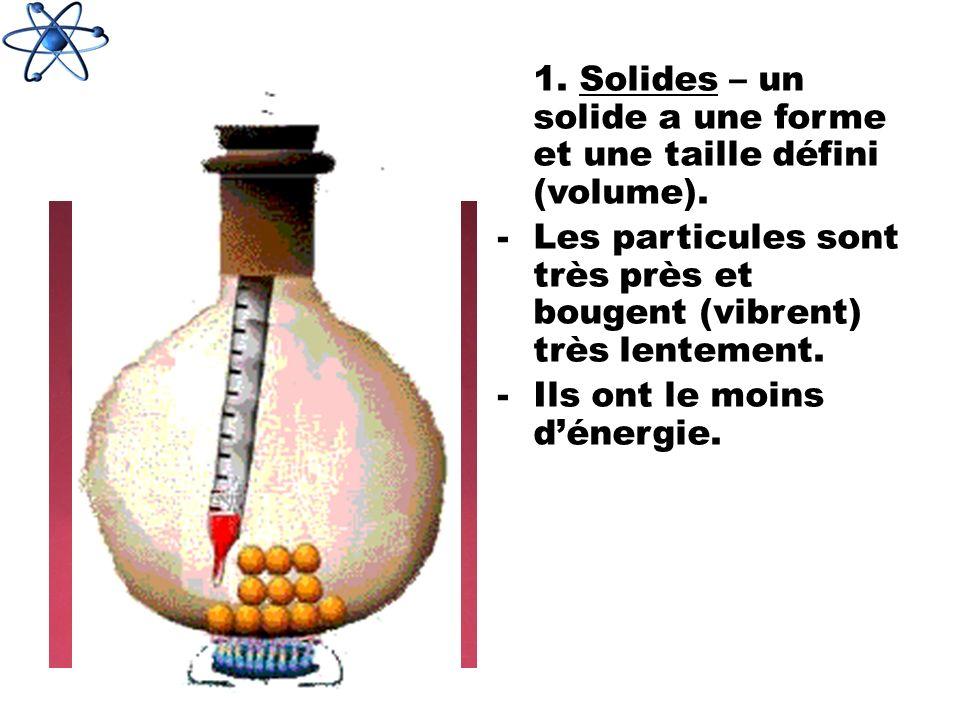 1. Solides – un solide a une forme et une taille défini (volume). -Les particules sont très près et bougent (vibrent) très lentement. -Ils ont le moin