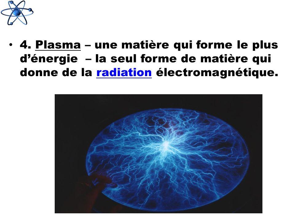 4. Plasma – une matière qui forme le plus dénergie – la seul forme de matière qui donne de la radiation électromagnétique.radiation