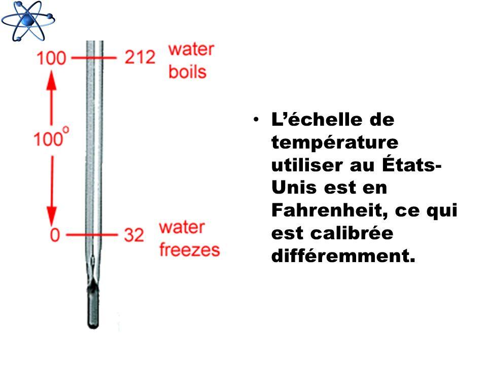 Léchelle de température utiliser au États- Unis est en Fahrenheit, ce qui est calibrée différemment.