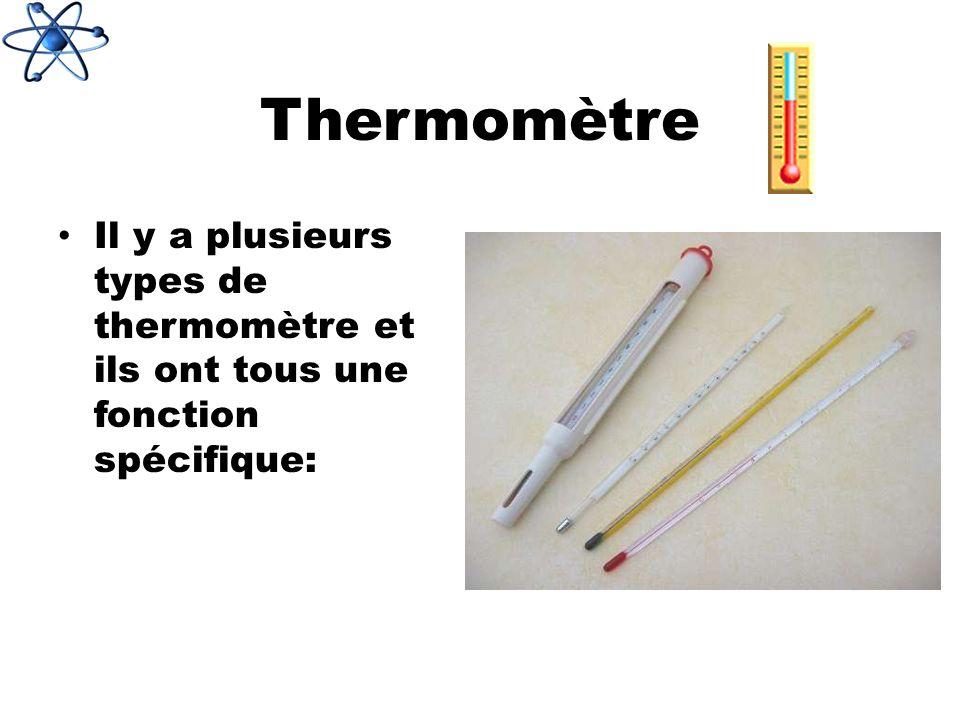 Thermomètre Il y a plusieurs types de thermomètre et ils ont tous une fonction spécifique: