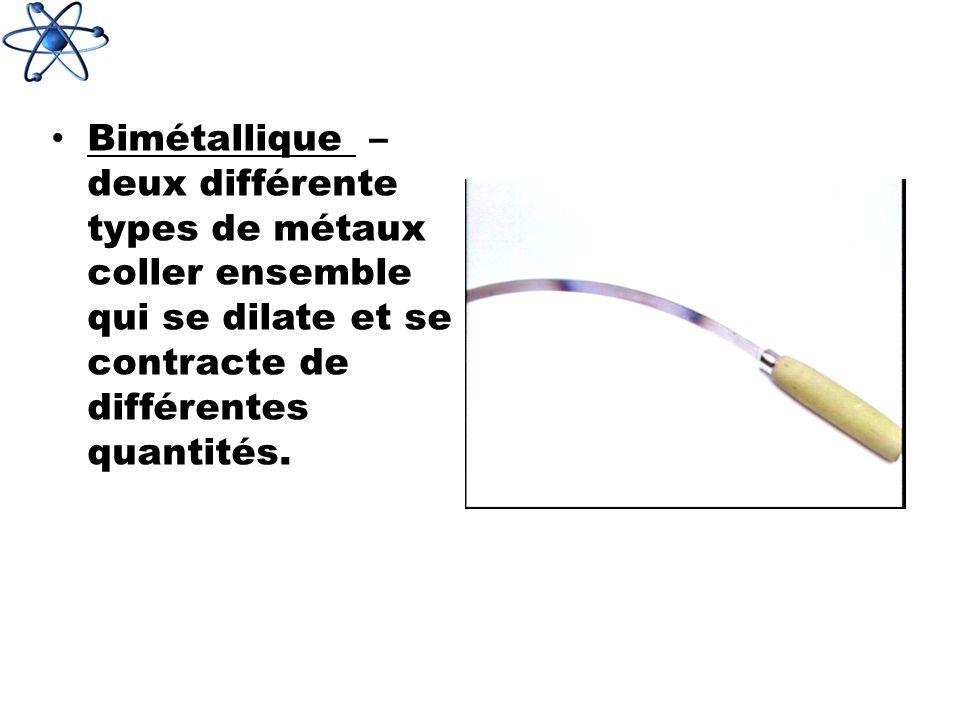 Bimétallique – deux différente types de métaux coller ensemble qui se dilate et se contracte de différentes quantités.