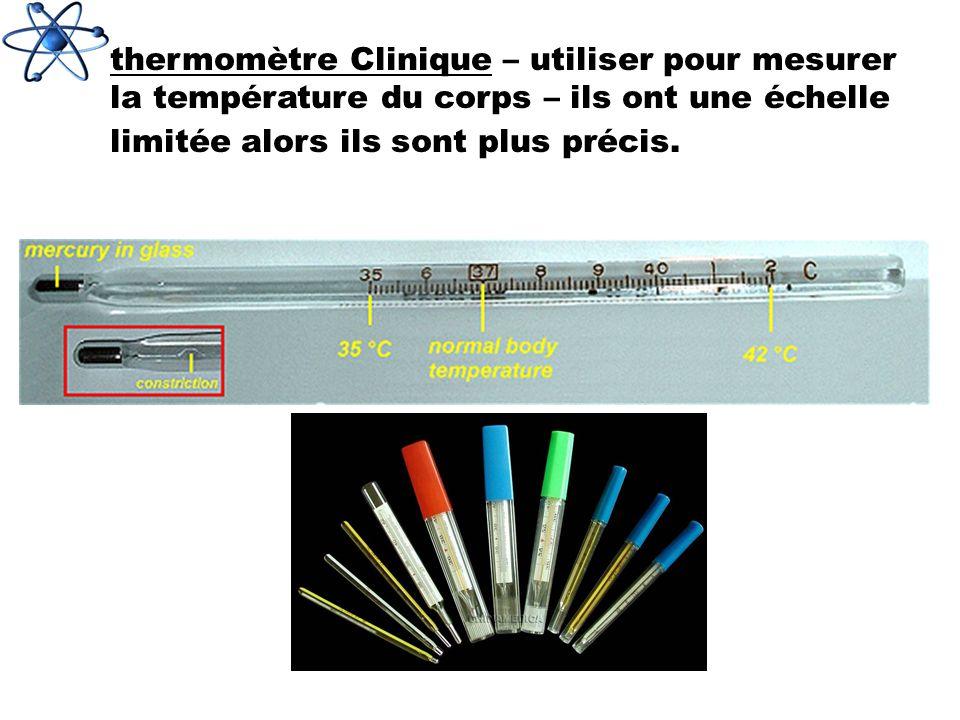 thermomètre Clinique – utiliser pour mesurer la température du corps – ils ont une échelle limitée alors ils sont plus précis.