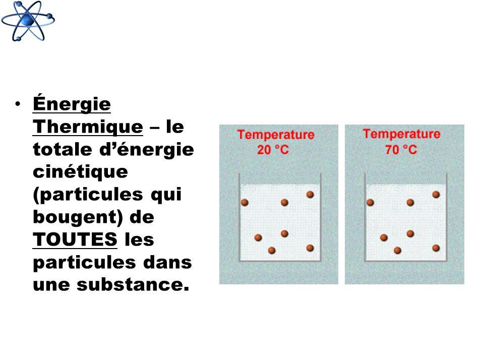 Énergie Thermique – le totale dénergie cinétique (particules qui bougent) de TOUTES les particules dans une substance.